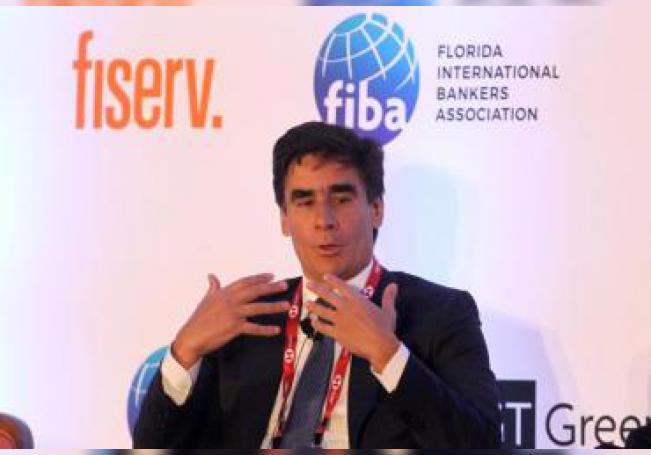 El director ejecutivo de HSBC México, Nuno Matos, habla este lunes en la Conferencia Latinoamericana de Delitos Financieros en Ciudad de México (México). EFE