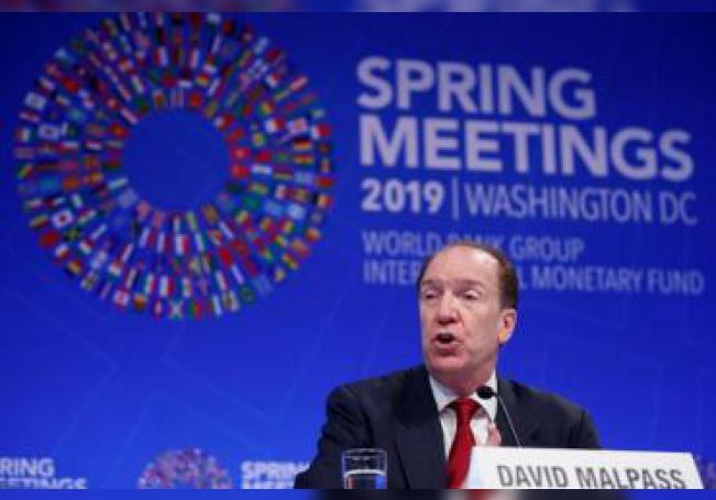 El presidente del Banco Mundial, David Malpass, participa en una rueda de prensa en la sede del Fondo Monetario Internacional (FMI) en Washington D.C (Estados Unidos), el jueves 11 abril de 2019, con motivo de la Asamblea de primavera del organismo y el Banco Mundial. EFE/Archivo