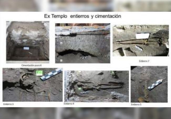 Combo de fotografías cedidas este martes, por el Instituto Nacional de Antropologia e Historia (INAH), que muestra piezas halladas en la antigua Biblioteca Nacional de México. EFE/INAH/SOLO USO EDITORIAL