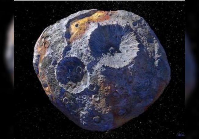Fotografía de archivo cedida por la Universidad Estatal de Arizona (ASU) donde aparece un dibujo concepcional del asteroide Psique 16, de 226 kilómetros de diámetro y del que se sospecha está compuesto de hierro y níquel, y puede esconder pistas sobre la composición del núcleo de la Tierra y, a la vez, sobre el origen del planeta celeste. EFE/Peter Rubin/ASU/SOLO USO EDITORIAL/NO VENTAS