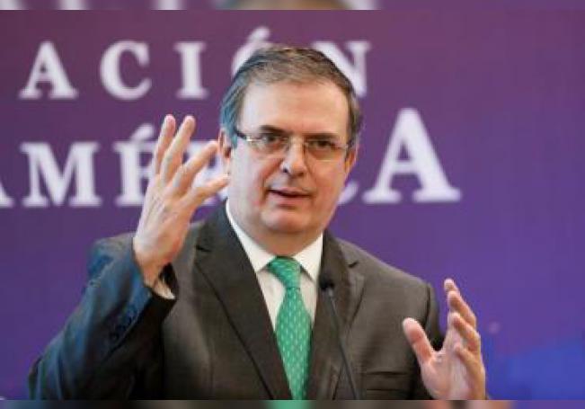 El canciller mexicano, Marcelo Ebrard, habla durante el V Foro México - Unión Europea en Ciudad de México (México). EFE/ José Méndez / Archivo