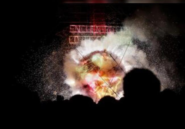 """Vista general este viernes del espectáculo """"Encuentro con lo desconocido: Proyecto Cosmo para México"""" en la ciudad de Cholula, estado de Puebla (México). EFE/Hilda Ríos"""