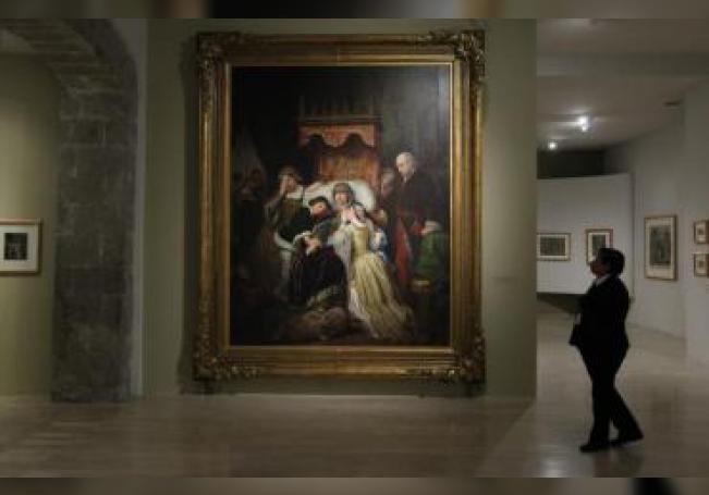 """Vista de la obra """"Demencia de Doña Isabel de Portugal"""" de 1855 del artista Pelegrín Clavé en el Museo Nacional de San Carlos, en la Ciudad de México (México). EFE/ Mario Guzmán"""