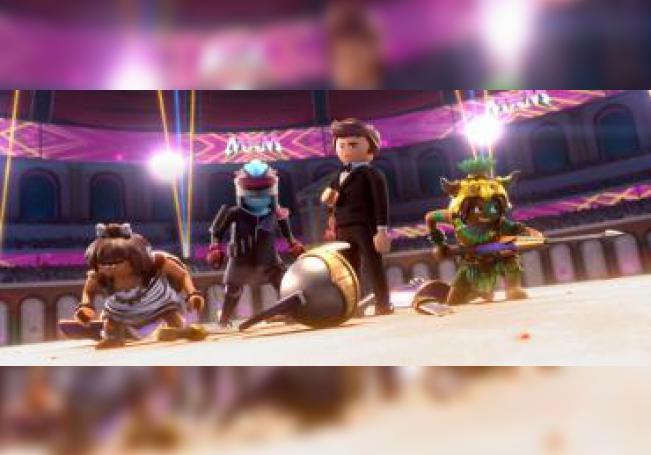 """Fotograma cedido por Playmobil donde aparecen los personajes (de i-d) Nola, Ook-Ook, Rex Dasher y Valera, durante una escena de """"Playmobil: The Movie"""", cinta que combina acción real y animación y que protagoniza los estrenos de este fin de semana. EFE/Playmobil/SOLO USO EDITORIAL/NO VENTAS"""
