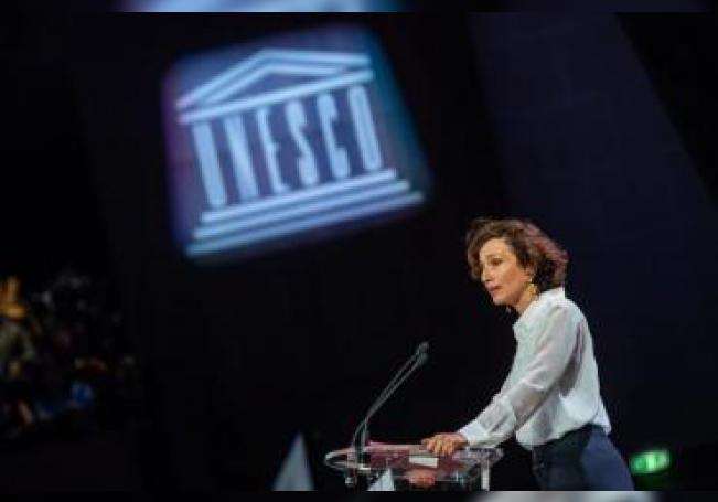 En la imagen, la directora general de la Organización de las Naciones Unidas para la Educación la Ciencia y la Cultura (Unesco), Audrey Azoulay. EFE/Christophe Petit Tesson/Archivo