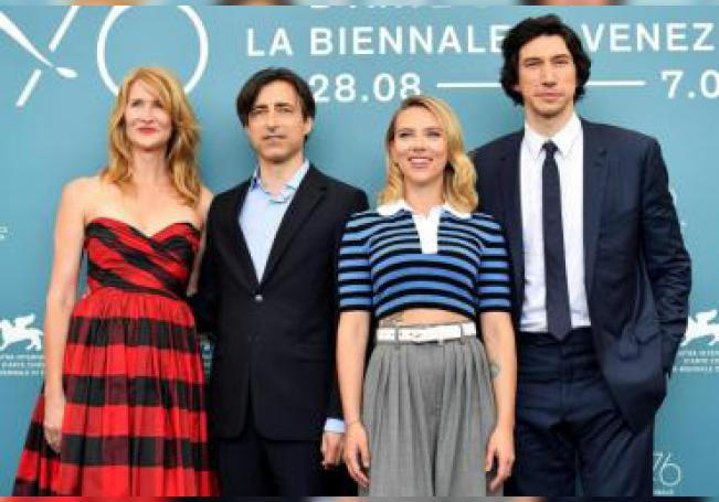 (L-R) US actress Laura Dern, US director Noah Baumbach, US actors Scarlett Johansson and Adam Driver pose at a photocall for 'Marriage Story' during the 76th annual Venice International Film Festival, in Venice, Italy. EFE/EPA/Ettore Ferrari/File