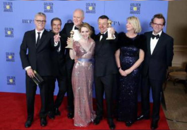 Cast and crew of 'The Crown,' pose with the award for Best Television Series - Drama for in the press room during the 74th annual Golden Globe Awards ceremony at the Beverly Hilton Hotel in Beverly Hills, California. EFE/EPA/Mike Nelson/File