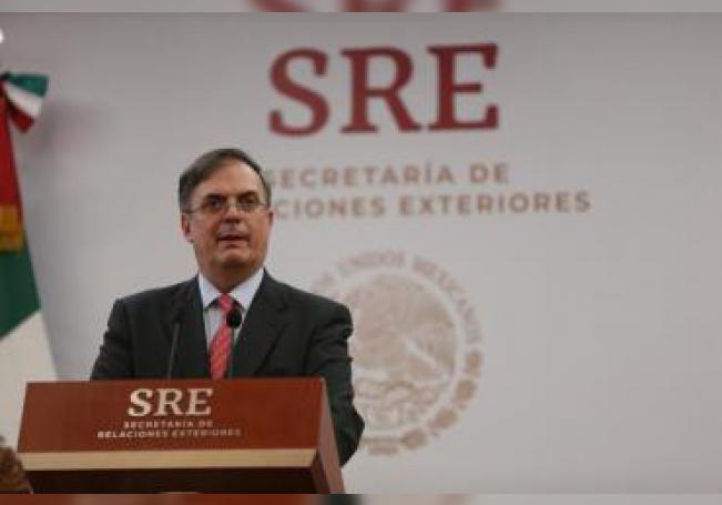 El canciller de México, Marcelo Ebrard, participa en una conferencia de prensa en la sede de la cancillería en Ciudad de México (México). EFE/ Sáshenka Gutiérrez/Archivo