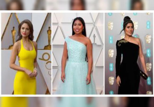 Combo de fotografías de actrices que muestra a Eiza González (i), Yalitza Aparicio (c) y Salma Hayek (d), mexicanas que sobresalen en Hollywood, (EEUU). EFE/Archivo