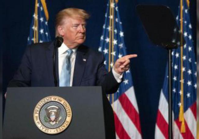 El presidente de los Estados Unidos, Donald J. Trump, habla durante el lanzamiento de la Coalición Evangélicas de Trump, en el Ministerio Internacional Rey Jesús en Miami, Florida, EE. UU., el 3 de enero de 2020. EFE/EPA/Cristobal Herrera/Archivo