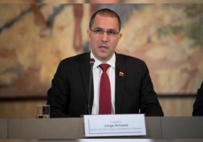 El canciller de Venezuela, Jorge Arreaza, ofrece declaración a los medios de comunicación. EFE/ Rayner Peña/Archivo