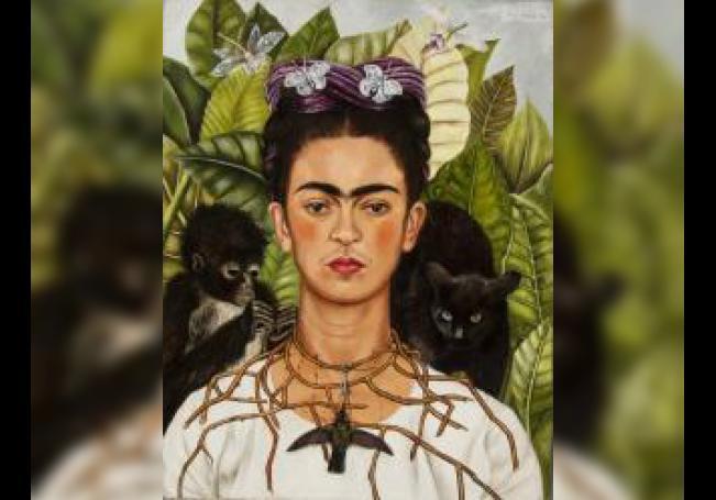"""""""Autorretrato con collar de espinas y colibrí"""" (1940) de Frida Kahlo. EFE/Foto cedida"""