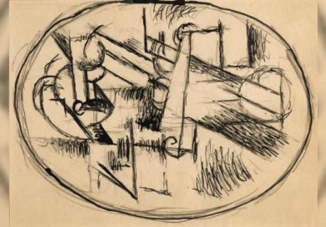 """Vista de la obra 'Pablo Picasso, Composition ovale, 1911', que junto a algunas otras del genio español Pablo Picasso (1881-1973) de la colección personal de su nieta Marina, como pinturas, grabados o fotografías, se subastarán """"online"""" por Sotheby's en Londres a partir del próximo 8 de junio. EFE/ Sotheby's"""