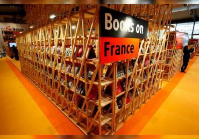 Vista del pabellón de invitados de honor de Francia durante la rueda de prensa de inauguración de la Feria del Libro de Fráncfort (Alemania). EFE/ Ronald Wittek/Archivo
