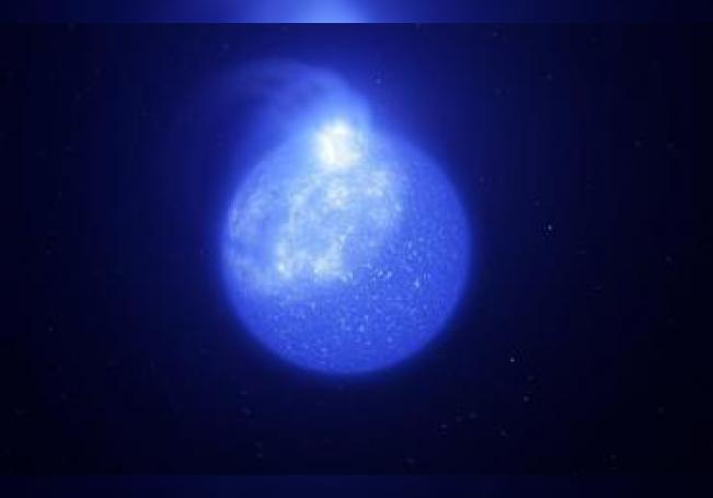 Representación artística que ilustra cómo podría ser una estrellas de rama horizontal extrema, con una de sus manchas blanquecinas gigantes. EFE/ESO/L. Calçada, INAF-Padua/S. Zaggia