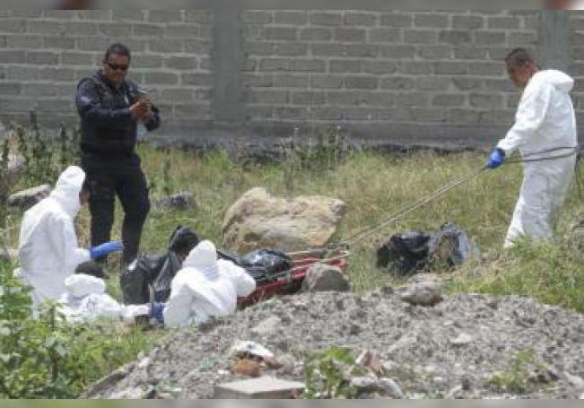 Expertos forenses trabajan en una fosa localizada en Guadalajara.