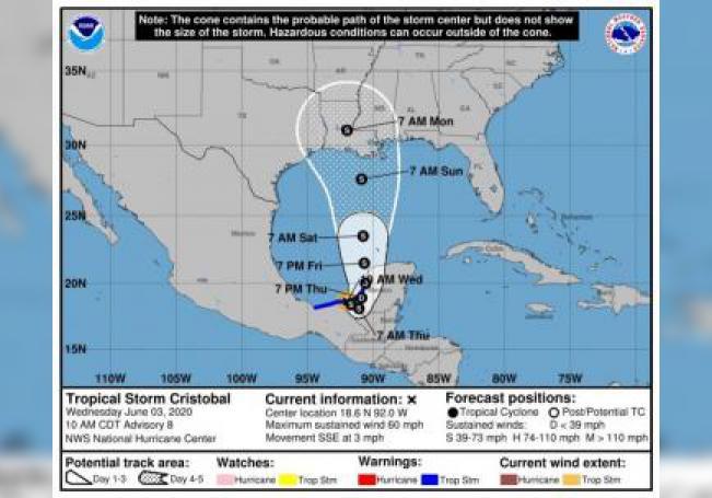 Imagen cedida por el Centro Nacional de Huracanes (NHC) donde se muestra el pronóstico de 5 días del paso de la tormenta tropical Cristóbal por el Golfo de México. EFE/NHC /SOLO USO EDITORIAL /NO VENTAS