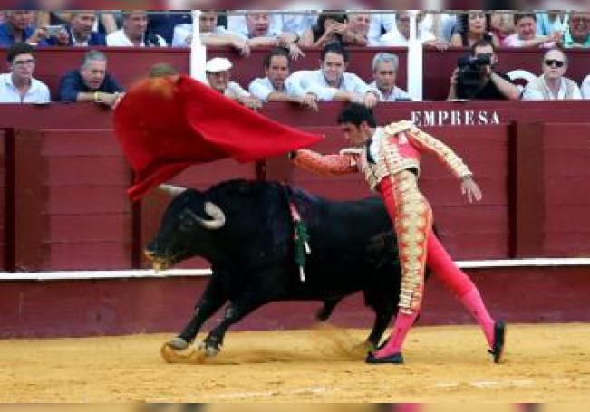 El torero Miguel Ángel Perera da un pase con la muleta a su primero durante la última corrida de la Feria de Málaga 2019,, en La Malagueta. EFE/Daniel Pérez