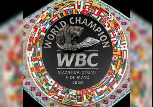 Fotografía cortesía del Consejo Mundial de Boxeo (CMB), hoy martes, donde se observa el cinturón que sera entregado a héroes mexicanos que han mostrado su humanismo, durante un anuncio en Ciudad de México (México). EFE/Cortesía CMB/SOLO USO EDITORIAL
