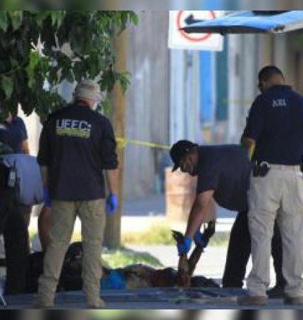 Peritos forenses y policías de investigación resguardan la zona donde fue encontrada una mujer asesinada. EFE/Luis Torres/Archivo