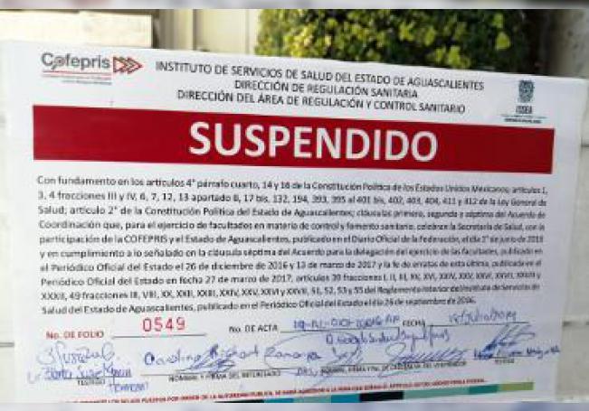 En las que se colocaron los sellos de suspensión de actividades se encuentran ubicadas en diferentes puntos de Jardines de Aguascalientes