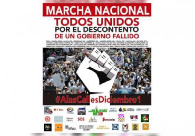 La convocatoria a la marcha nacional el próximo primero de diciembre.
