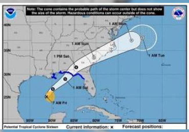 Zonas costeras de Florida, Alabama, Misisipi y Luisiana, estados ribereños del Golfo de México, están en alerta ante el alto nivel de probabilidad de que este viernes se forme una tormenta tropical que llevará el nombre de Néstor.