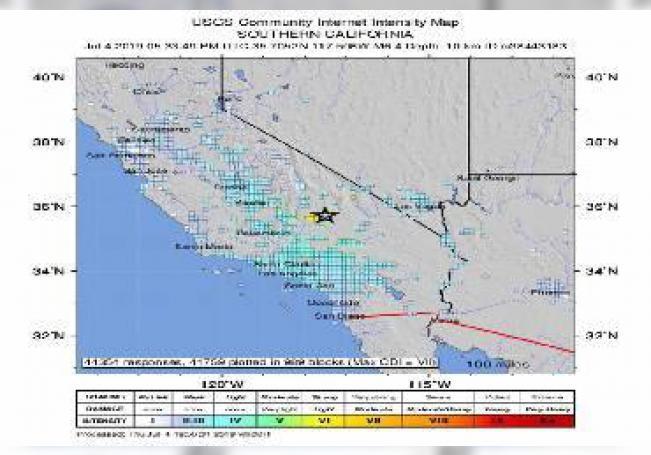 Un temblor de magnitud 6,4 en la escala abierta de Richter sacudió este jueves el sur de California y se dejó sentir en zonas del condado de Los Ángeles