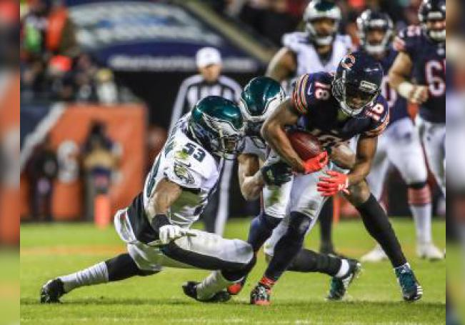 Philadelphia Eagles defensive back Tre Sullivan (L) reacts as he fails to intercept a pass intended for Chicago Bears wide receiver Anthony Miller (R) in the end zone during the NFC Wild Card Playoff game between the Philadelphia Eagles and the Chicago Bears at Soldier Field in Chicago, Illinois, USA, 06 January 2019.