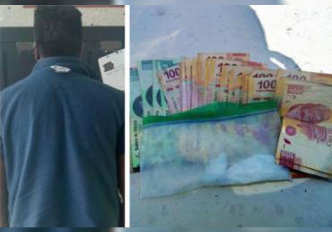 El sujeto fue detenido con más de 7 mil pesos en efectivo y droga.
