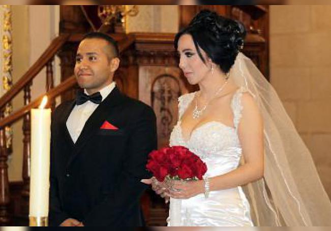 En su enlace matrimonial, Emmanuel Mata Barba y Marisol Montelongo Santacruz.