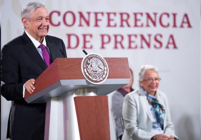 Fotografía cedida este miércoles por la presidencia de México, del presidente de México, Andrés Manuel López Obrador, durante una rueda de prensa en Palacio Nacional de Ciudad de México (México). EFE/Presidencia de México/SOLO USO EDITORIAL