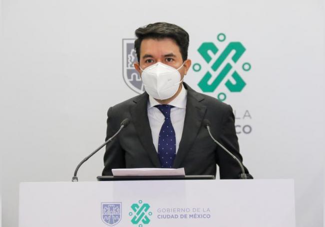 Fotografía cedida por el Gobierno de la Ciudad de México que muestra al subsecretario de Gobierno, Arturo Medina, durante una conferencia de prensa este lunes en el edificio del Gobierno de la Ciudad de México. EFE/Gobierno de la Ciudad de México/SOLO USO EDITORIAL