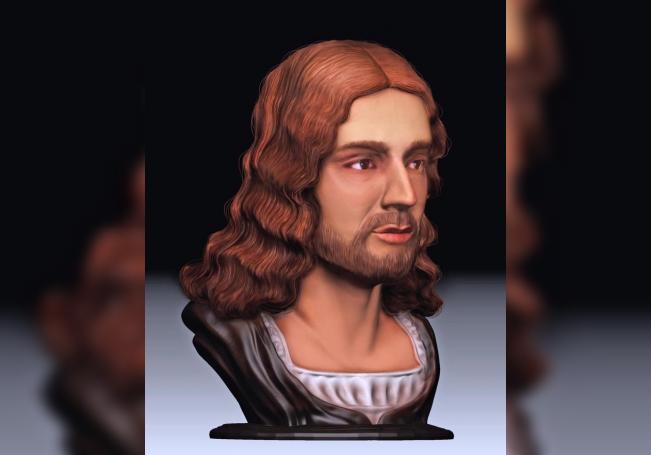 """Reconstrucción en 3D del rostro del pintor renacentista Rafael. EFE/Foto cedida por la Universidad de Roma """"Tor Vergata""""."""