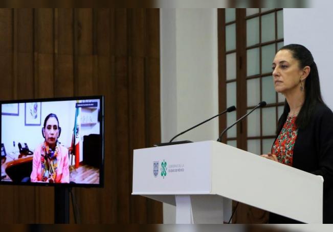 Fotografía cedida por el Gobierno de la Ciudad de México que muestra a la mandataria, Claudia Sheinbaum, durante una rueda de prensa en Ciudad de México (México). EFE/Gobierno de la Ciudad de México /SOLO USO EDITORIAL /NO VENTAS