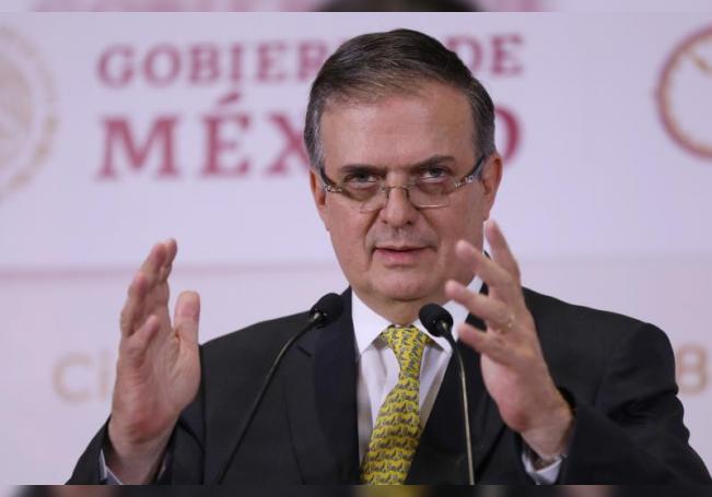 El secretario de relaciones exteriores Marcelo Ebrard durante una rueda de prensa en Ciudad de México (México). EFE/Sáshenka Gutiérrez/Archivo