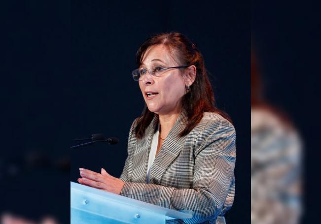 Fotografía de archivo del 4 de junio de 2019, de la secretaria de Energía de México, Rocío Nahle, durante su participación en un foro en Ciudad de México (México). EFE/José Méndez/Archivo