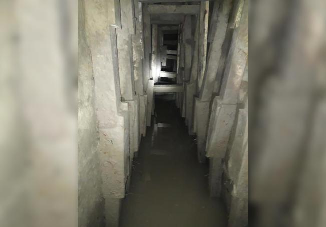 Vista de un túnel, este miércoles debajo del Rio Bravo, en la ciudad de Matamoros estado de Tamaulipas (México). EFE/Str