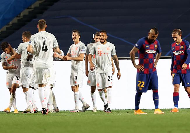 El Bayern se impuso 8 goles a 2 frente al Barcelona en una goleada histórica.