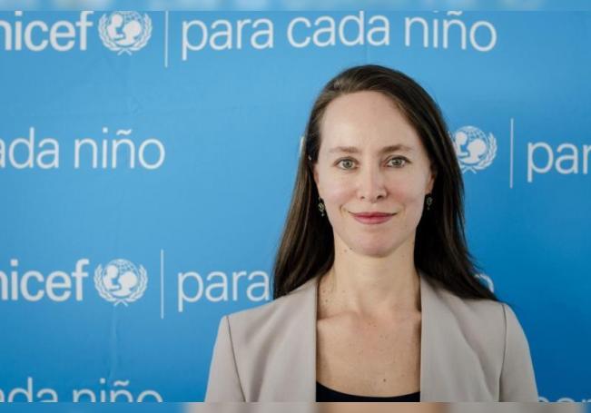 Fotografía cedida hoy por Unicef que muestra a la jefa de Política Social de Unicef México, Catalina Gómez. EFE/UNICEF/SOLO USO EDITORIAL/NO VENTAS