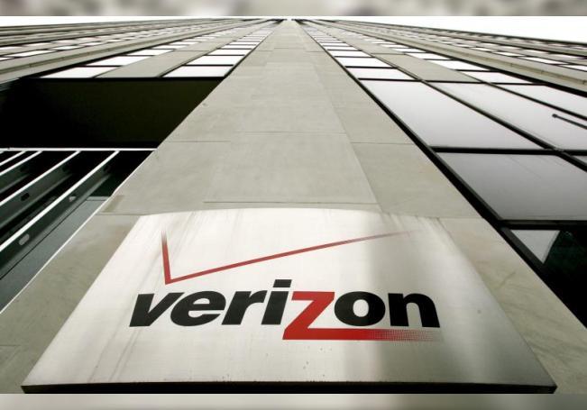 Foto de archivo del logotipo de la compañía Verizon en una de las sedes que la compañía en Nueva York (Estados Unidos). EFE/Justin Lane/Archivo