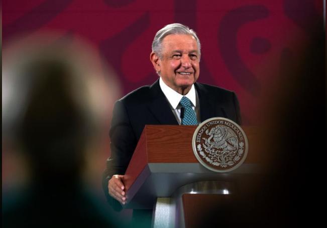 Fotografía cedida este lunes por la presidencia de México, del presidente Andrés Manuel López Obrador, durante una rueda de prensa en Palacio Nacional de Ciudad de México (México). EFE/Presidencia de México/SOLO USO EDITORIAL /NO VENTAS