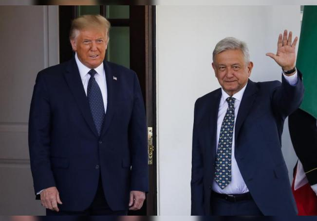 US President Donald J. Trump (L) welcomes Mexican president Andres Manuel Lopez Obrador (R), at the West Wing of the White House in Washington, DC, USA, on 08 July 2020. EFE/EPA/Al Drago / POOL/File