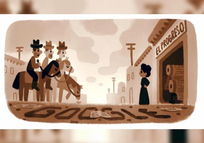 """Fotografía cedida por Google donde se muestra el """"doodle"""" (dedicatoria diaria) con el cual honra este lunes a la activista mexicoamericana Jovita Idár, defensora de los derechos de las minorías a principios del siglo 20 y crítica de la participación del Ejército estadounidense en la Revolución Mexicana. EFE/Google /SOLO USO EDITORIAL /NO VENTAS"""