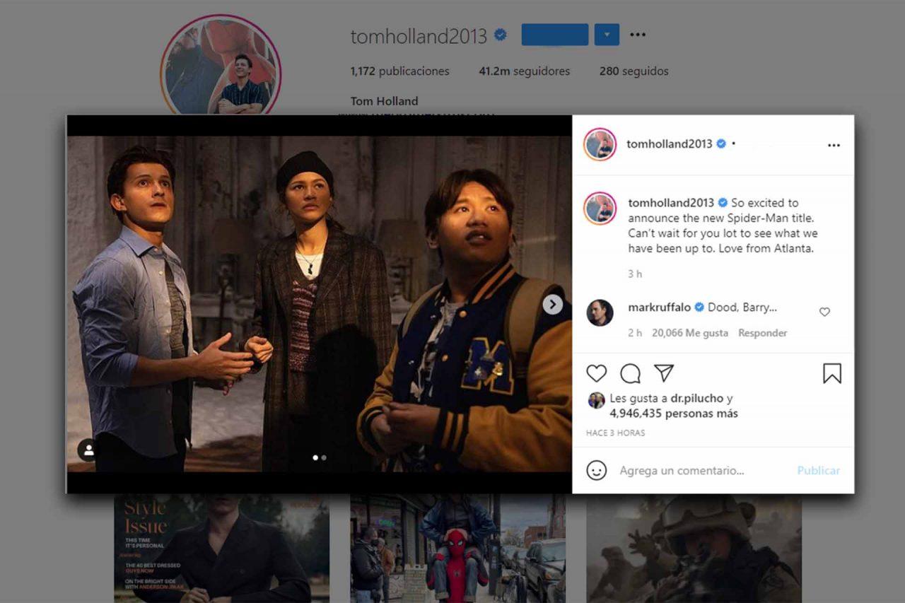 Tom Holland informó en Instagram el titulo de la nueva película de Spider-Man
